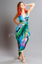 Abstract Sublimation Draped Tulip Dress