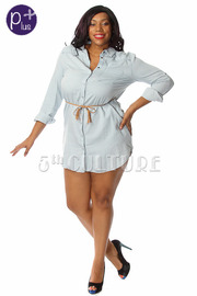 Plus Size Denim Button Down Tunic Dress w/ Waist Tie