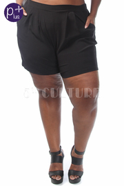 Plus Size Solid Shorts