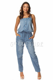Denim Sleeveless  Stone Wash Jumpsuit