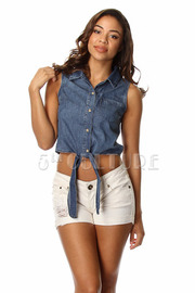Button Down Denim Sleeveless Front Tie Crop Top