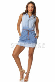 Ombre Denim Sleeveless Tunic Dress w/ Waist Tie