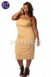Plus Size Tube Top Suede Midi Dress