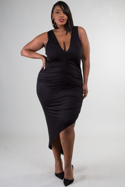 Plus Size Side Ruched V-Neck Sleeveless Dress