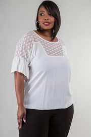 Plus Size Crochet Lace Insert Linen Top