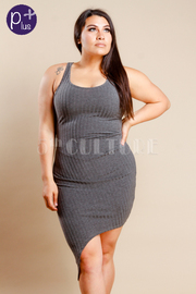 Plus Size Ribbed Knit Asymmetrical Fitted Dress