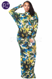 Plus Size Floral Print Cowl Neck Silky Maxi Dress