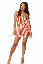 Sweetheart Striped Strapless Romper