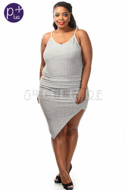 Plus Size Asymmetrical Mini Dress