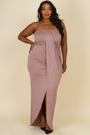 Plus Size Solid Draped Tube Top Dress