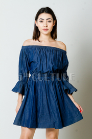Off The Shoulder Denim Flared A-Line Dress