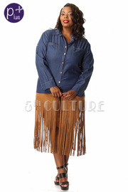Plus Size Denim Long Sleeve Button Down w/ Suede Fringe