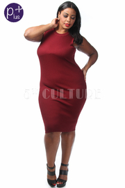 Plus Size Ribbed Sleeveless Midi Dress