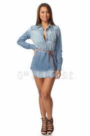Denim Long Sleeve Tunic w/ Waist Belt
