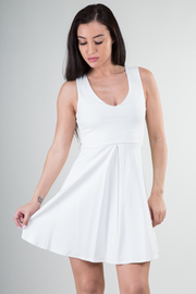 Solid Pleated A-Line Dress