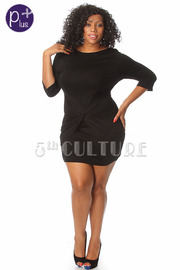 Plus Size Solid Twist Mini Dress