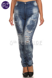 Plus Size Distressed Stone Washed Denim Pants