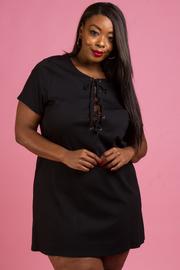 Plus Size Tied Short Sleeve Tunic Dress