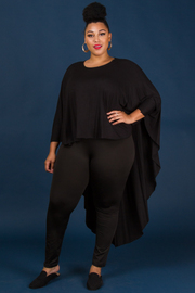 Plus Size Long Sleeve Solid High Low Fashion Top