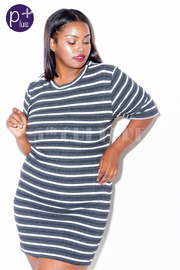 Plus Size Striped Mini Dress
