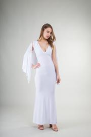 V-Neck Solid Mermaid Dress w/ Cape