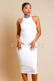 Solid Chic Midi Dress w/ Mock Neck Maze Detail