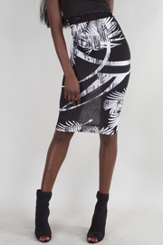 Contrast Palm Print Midi Skirt