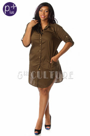Plus Size Button Down Long Sleeve Shirt Dress
