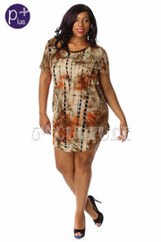 Plus Size Short Sleeve Tie Dye Tunic Dress