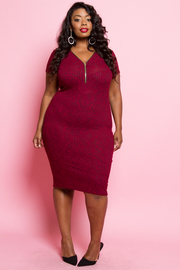 Plus Size Contrast Knit Zip Up Neck Line Dress