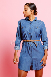 Button Down Denim Long Sleeve Tunic Dress w/ Waist Belt