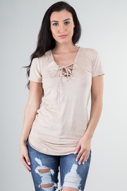 Short Sleeve Suede Front Tie Tunic