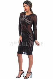 Front Mesh Sequin Long Sleeve Bodycon Dress