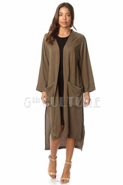 Solid Long SLeeve Slit Long Cardigan