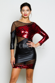 Sequin Faux Leather Fashion Dress