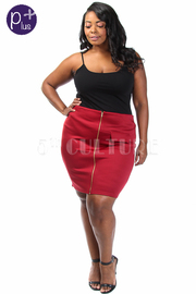 Plus Size Front Zipper Scuba Skirt