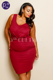 Plus Size Sleeveless Cross Over Detail Knee Length Dress