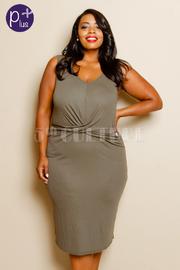 Plus Size Sleeveless Cross Over Detail Knee Length Dress