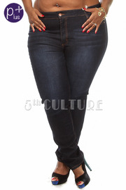 Plus Size Stone Washed Denim Pants