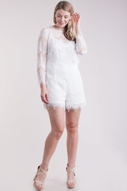 Plus Size Solid Romper w/ Lace Long Sleeve Cover Up