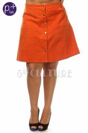 Plus Size Button Down A-Line Skirt