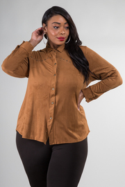 Plus Size Button Down Suede Long Sleeve Top
