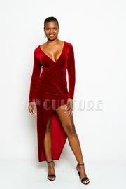 Long Sleeve Velvet Tulip Dress