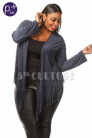 Plus Size Fringe Suede Jacket