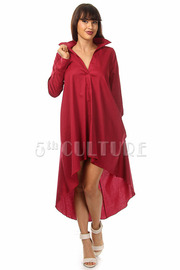 Solid Long Sleeve High Low Dress