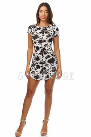 Contrast Flower Print Mini Dress