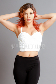 Solid Stone Embellished Sweetheart Bustier