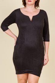 Plus Size Suede Sweetheart Mini Dress