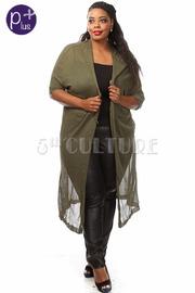Plus Size Short Sleeve Knit Long Cardigan