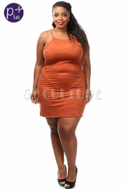 Plus Size Suede Crossback Mini Dress